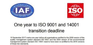 icdq-ISOIAFTransitionletter1yeartoISO9001and14001